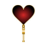 Heart shaped zip. Red heart shaped zip on a white background vector illustration