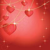 Heart shapes on the abstract background to the Valentine's day. Stock Images