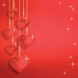 Heart shapes on the abstract background to the Valentines day. Royalty Free Stock Photography