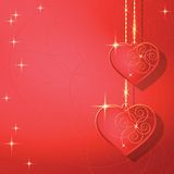Heart shapes on the abstract background to the Valentines day. Royalty Free Stock Photos