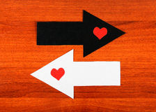 Heart Shapes and the Arrows Stock Photo