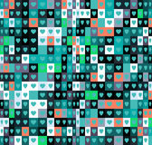 Heart shapes background. Lots of small colorful square shapes. Royalty Free Stock Photography