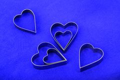 Heart shapes on blue Royalty Free Stock Image