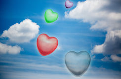 Heart shapes in  blue sky Stock Images