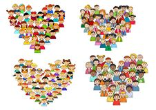 Heart shapes with cartoon kids Royalty Free Stock Photo