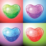 Heart shapes on colorful background to the Valentine's day. Royalty Free Stock Photos