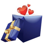 Heart shapes coming out form open gift box. On a white background Royalty Free Stock Photography