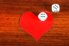Heart Shapes and Dices Stock Images