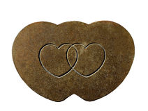 Heart Shapes Engraved on Rusty Metal Royalty Free Stock Photography