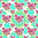 Heart Shapes with Flowers Motif Pattern Stock Photos
