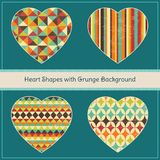 Heart Shapes with Geometric Grunge Background Royalty Free Stock Image