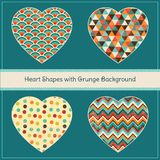 Heart Shapes with Geometric Grunge Background Royalty Free Stock Photo