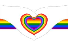 Heart shapes from hand outlines on colorful rainbow ribbon; white transparent background. Vector illustration, EPS10. The rainbow flag is a symbol of lesbian royalty free illustration