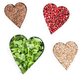Heart Shapes with Herbs and Spices Royalty Free Stock Photo