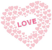 Heart shapes with love text Royalty Free Stock Images