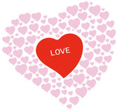 Heart shapes with love text Royalty Free Stock Photography