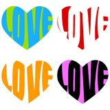 Heart shapes with love words. Colorful heart shapes with love words drawn inside them Royalty Free Stock Photos