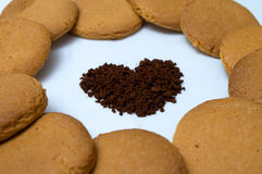 Heart shapes made of gingerbread and coffee Royalty Free Stock Photography