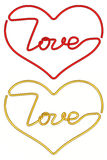Heart shapes made of wire with love Stock Photography