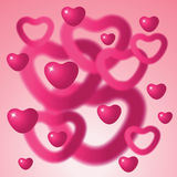 Heart shapes on pink background. Royalty Free Stock Photos