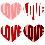 Red hearts with love text inside. Heart shapes in red tones with love text words drawn inside the hearts Stock Images