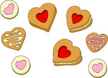 Heart shapes sweet cakes. Vector illustration on white background Stock Images