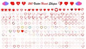 Heart shapes vector set Royalty Free Stock Photo