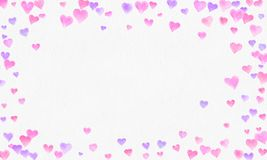 Heart shapes watercolor background. Romantic Confetti splash. Background with Heart Confetti. Falling red and pink paper hearts. stock photo