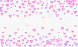 Heart shapes watercolor background. Romantic Confetti splash. Background with Heart Confetti. Falling red and pink paper hearts. Heart shapes watercolor vector illustration