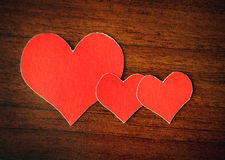 Heart Shapes on the Wooden Background Royalty Free Stock Photo