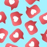 Heart shapet likes seamless pattern. Followers, subscribers for sociel nets vector illustration