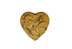 Heart shapped chocolate chip cookie Stock Images
