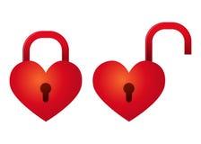 Heart Shapped Padlock Set Locked And Unlocked Royalty Free Stock Photography