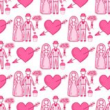 Heart sharp vector wedding couple seamless pattern background pink color card beautiful celebrate bright emoticon symbol. Holiday abstract art decoration Stock Images