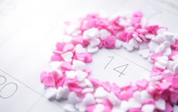 Heart Shave Sprinkles Round Valentine Date on Calendar Royalty Free Stock Images