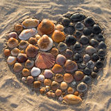Heart of Shells. Heart of seashells in the sand Stock Photography
