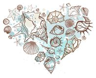 Heart of the shells. Hand drawn illustration Stock Images