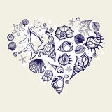 Heart of the shells. Royalty Free Stock Photography