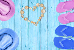 Heart of shells, love at the beach. Romantic holidays at the beach Stock Images