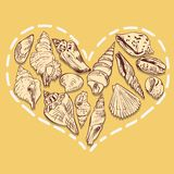 Heart from shells Royalty Free Stock Photos