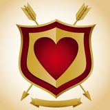 Heart Shield with Arrows Stock Photography