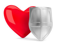 Heart and shield on white Royalty Free Stock Image