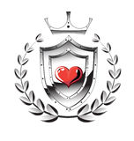 Heart shield, wreath Stock Image