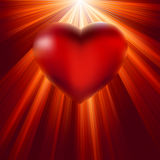 Heart shining with light of love. EPS 8 Stock Photo
