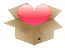 Heart in a shipping box Stock Photo
