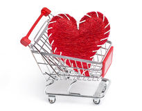heart and shopping cart Stock Photo