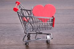 Heart in shopping cart Royalty Free Stock Photo