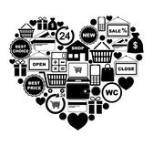 Heart of shopping icons Royalty Free Stock Photo