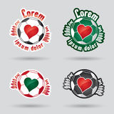 Heart shped classic football (ball) logo Royalty Free Stock Images