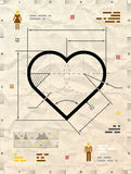 Heart sign as technical blueprint drawing Stock Photo